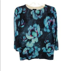 TALBOTS CASHMERE FLORAL SWEATER M
